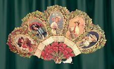 Vintage,VICTORIAN 1909 HOLLY CALENDAR fan greeting card
