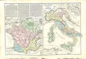 FRANCE-GAULOIS-GAULE-ANCIENNE-ITALIA-ITALY-ANTIQUITY-MAP-CARTE-ATLAS-1870