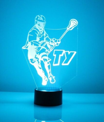 Lacrosse Player LED Light Personalized Name Team 16 Color Night Light Number