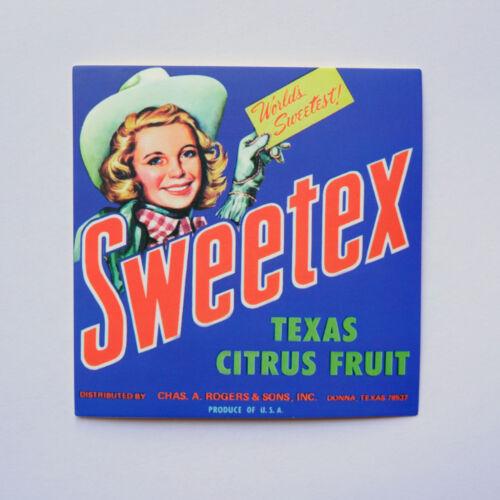 "Sweetex Texas Citrus Fruit USA Retro Pin Up Farm Girl 3/"" Luggage Label Sticker"