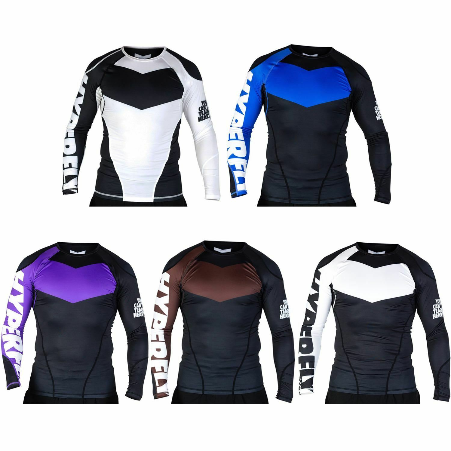 Hyperfly ProComp Supreme Long Sleeve BJJ Ranked Rash Guard MMA Compression Top