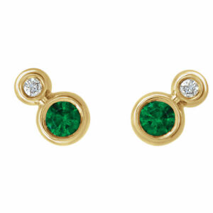 026ce6fe9 14 k yellow, white, rose gold Chatham created emerald & .03 CTW ...