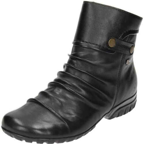 Comfort Wedge Leather Shower Flat Rieker Boots Ankle Lined Wool Zip proof Black qw67aaPxnH