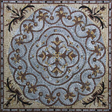 Fleur De Lys Rounded Frame Geometrical Mural Art Marble Mosaic GEO2115