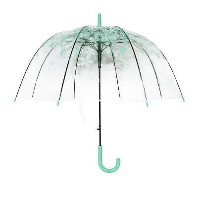 HOT Green Cherry Blossom Transparent Umbrella Clear Dome Bubble Umbrella