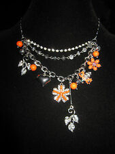 BETSEY JOHNSON ICONIC CORAL FLOWER  AND BLING 3 LAYER NECKLACE