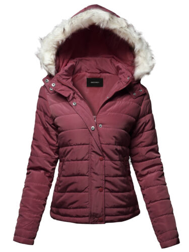 FashionOutfit Women/'s Solid Basic Quilted Fur Trimmed Light Padded Jacket