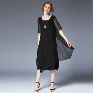 31b37ae0a1003 Image is loading Plus-size-Women-Chiffon-dresses-casual-loose-Elegant-