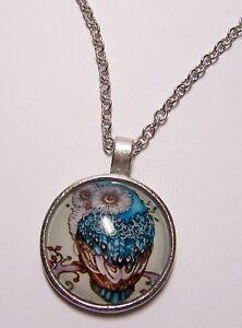 OWL-Bird-Design-Cabochon-Pendant-Necklace-w-Chain-Unique-Jewelry-Gift