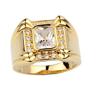 Men S Ring Gold Plated Band Rectangular Shape Stone Fashion Style
