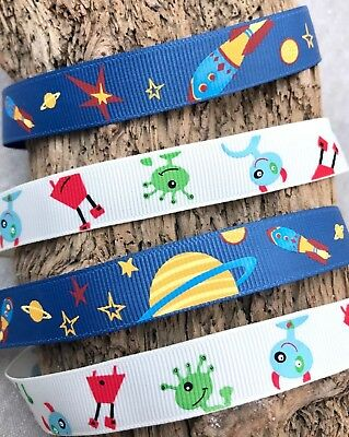 "Blue Planets 1m 3m 1/"" Planets Space Ribbon Rocket Outer Space Trim"