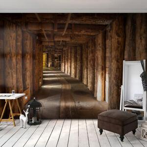 VLIES FOTOTAPETE Holz Tunnel braun 3D effekt TAPETE Schlafzimmer ...