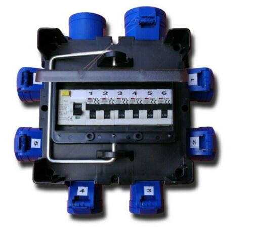 6x 16A with RCD /& MCB/'s PCE IMST32-101 Event Power Distro 32A In /& Loop-thru