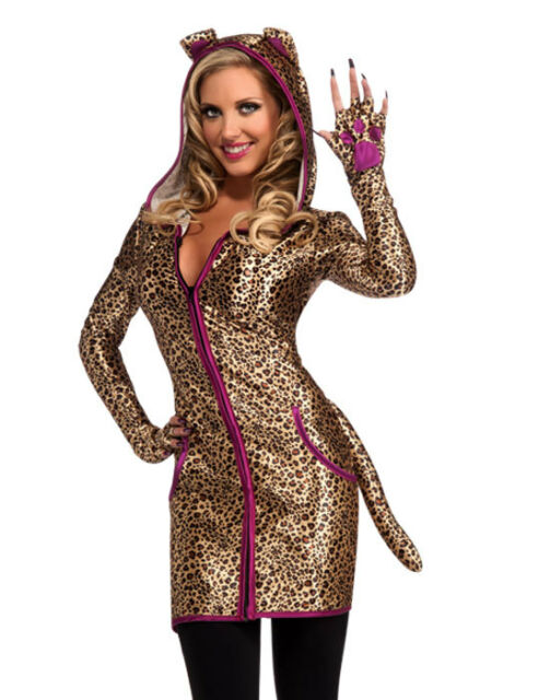 Sexy Animal Urban Jungle Leopard Print Cat Cheetah Adult Halloween Costume -Std  sc 1 st  eBay & Urban Leopard Cheetah Cat Halloween Costume Adult One Size up to 12 ...