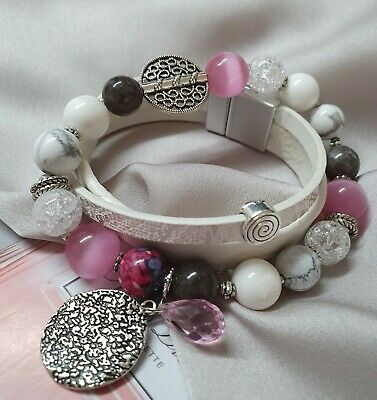 Handmade Leather and Pink Bead Bracelet and Earring set