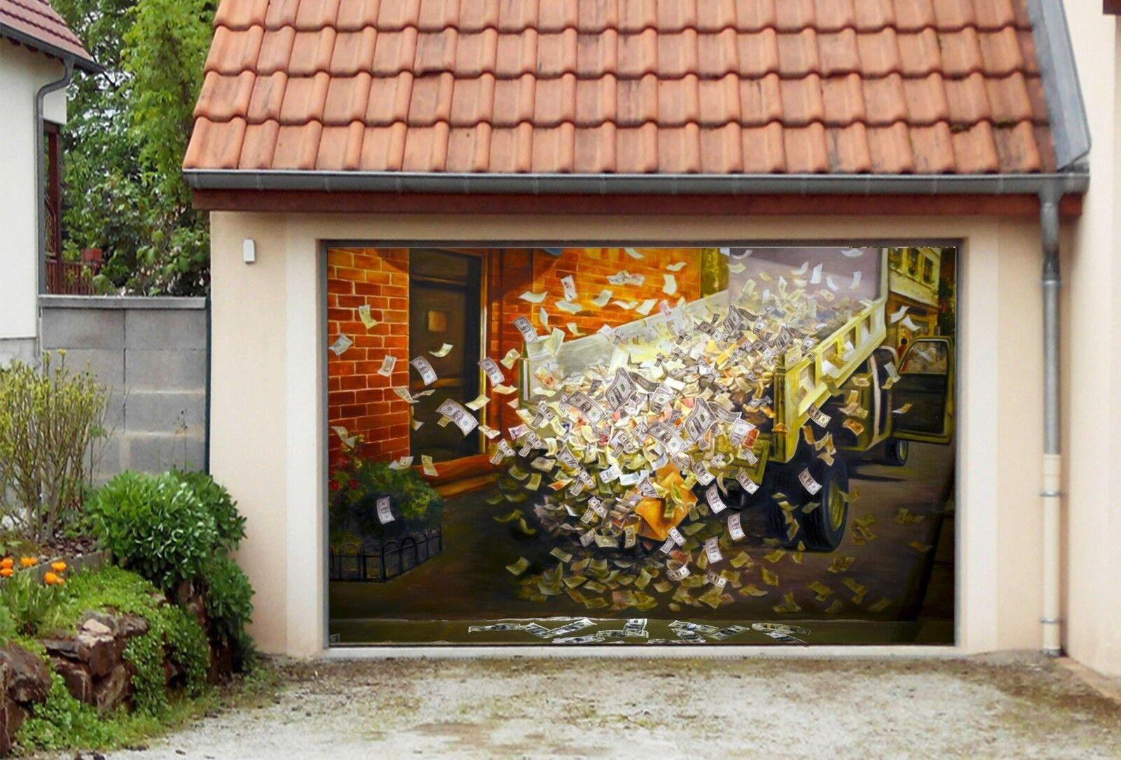 3D Money Car 905 Garage Door Murals Wall Print Decal Wall AJ WALLPAPER UK Carly