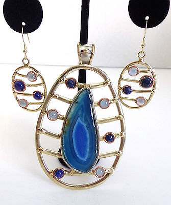 Blue Agate Tri-Color Statement Pendant and Earrings Artisan Crafted