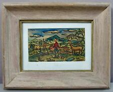 LEWIS J MILLER__Artist in the Field__Signed Whimsical Watercolor__ExC_SHIPS FREE