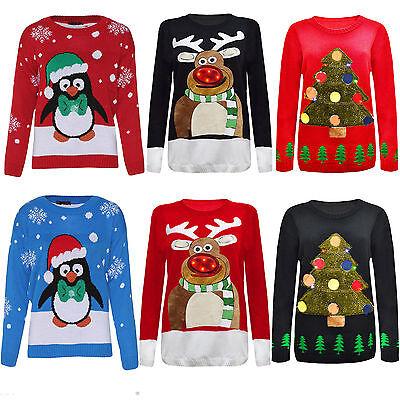 Unisex Men Women Ladies XMAS Novelty Vintage Christmas Light Up Jumper Sweater