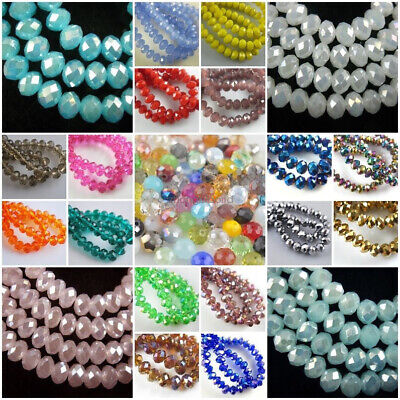 14x10mm Faceted Glass Crystal Rondelle Bead Loose Spacer Beads 42 Colors 10pcs