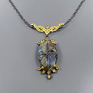 Women Fashion Art Labradorite Necklace 925 Sterling Silver  Length 19/N05133