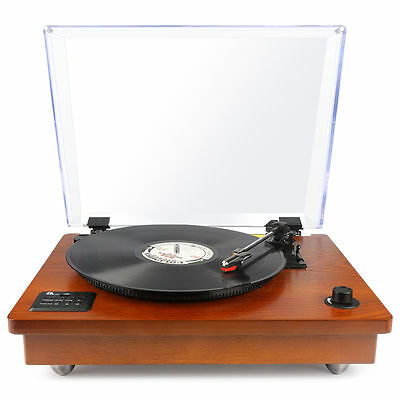 Wooden Bluetooth USB Turntable Vintage Record Player Built-in Pre-Amplifier