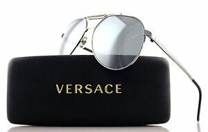 5c3d67ef850 Image is loading RARE-Genuine-VERSACE-Silver-Black-Aviator-Mirrored- Sunglasses-