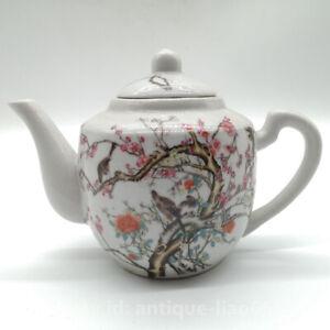 Chinese Famille-rose Porcelain Peach Blossom Hexagonal Gongfu Teapot Teakettle