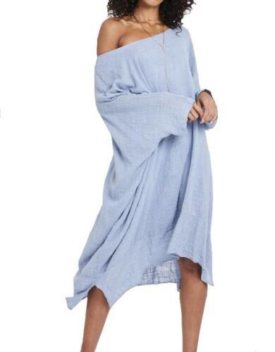 denim bleu en coton Robe Boho q0OIS0twW