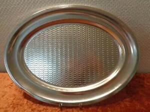 XL-DDR-Aluminio-Servir-Bandeja-Vintage-Alrededor-De-1970-Ondas-Diseno-45