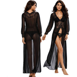 6217baf1102 Sheer Long Sleeve Lace Robe With Thong Dress Exotic Apparel Brief ...