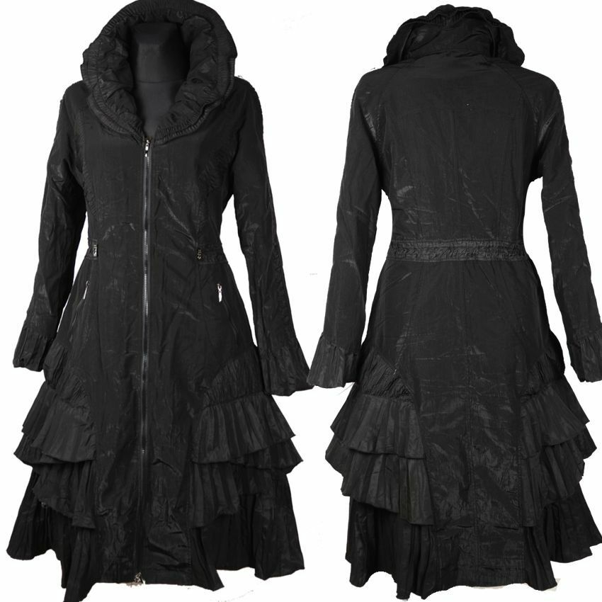 DAMEN DAMEN DAMEN ÜBERGANG WINTER MANTEL WARM GEFÜTTERT TRENCH COAT 38 40 42 S M L black 2a158a