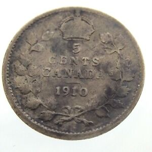 1910-Canada-5-Cents-Small-Silver-Circulated-Canadian-Edward-VII-Coin-Five-P060