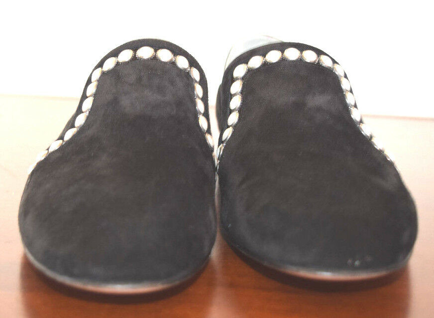 GINA SUEDE BLACK FAUX FAUX FAUX BEADED PEARLS LOAFERS SHOES SIZE 38 dd9f04
