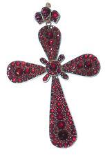 Vecchio 8cm grande Croce Granate Crocifisso Ciondolo gioielli 1900 Rosario ?