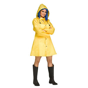 Womens Yellow Raincoat Jacket Georgie It Coraline Morton Salt Halloween Costume Ebay