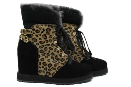 Boots Soft Ladies' Suede Black With Inner Wool Print Ankle And Pegia Leopard 0dx4z66