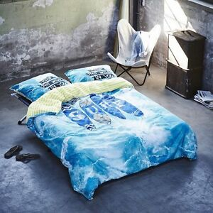 covers co baumwoll bettw sche surf blue 135x200 cm 2 tlg ebay. Black Bedroom Furniture Sets. Home Design Ideas