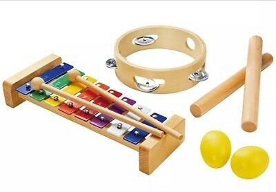 Tickit Childrens Wooden Percussion Set of 10 Music Instruments Band Kit Toys New