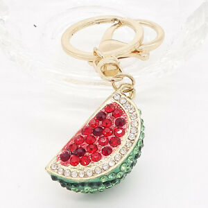 Key-Ring-Purse-Bag-watermelon-Rhinestone-CZ-Keyring-Keychain-charm-Pendant-Gift