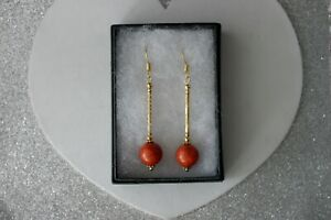 BEAUTIFUL EARRING WITH RED CORAL GEMSTONE 4.7 GR 5 CM. LONG + HOOKS IN GIFT  BOX