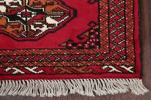 New-9-ft-Red-Narrow-Runner-Bokhara-Oriental-Rug-Hand-Knotted-Wool-9-039-5-034-x-2-039-3-034
