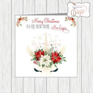 Christmas Cards For Teachers.Details About Personalised Christmas Card For Teacher Unicorn Also Sister Best Friend Aunt