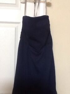 Ladies-Size-6-Navy-Blue-WHITE-by-VERA-WANG-Strapless-Tiered-Formal-Dress