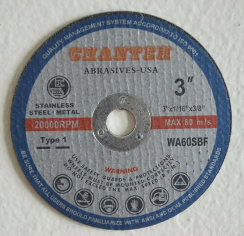"200pcs 3-inch x 1//16/"" x 3//8/"" Cut-off Wheels SS /& Metal Cutting Disc Wholesale"