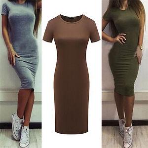 Women-Cotton-Knee-Length-Skinny-Office-Dress-Short-Sleeve-Bodycon-Pencil-DressEB