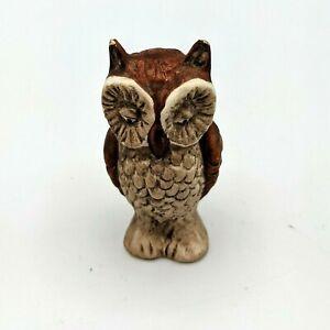 """Vintage Miniature Owl Figurine 2 1/4"""" Ceramic Porcelain Hand Painted"""