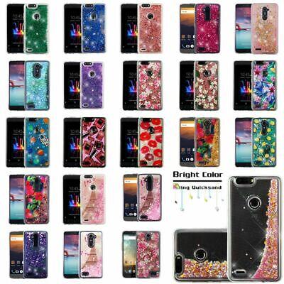 watch 4fa6f 7bc8e For ZTE Phone Bling Hybrid Liquid Glitter Rubber TPU Protective Case Cover  | eBay