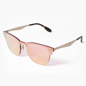 fbc4de19a5 Ray-Ban Blaze Clubmaster RB3576N 043 E4 Gold Pink Mirror Sunglasses ...