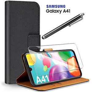 Coque pour Samsung Galaxy A41 Étui Portefeuille en Cuir Noir Verre Trempé 9H